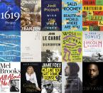 """This combination of book cover images shows cover art for upcoming releases, top row from left, """"The 1619 Project: A New Origin Story"""" by Nikole Hannah-Jones, releasing Nov. 16 (One World), """"Crossroads,"""" a novel by Jonathan Franzen releasing on Oct. 5. (Farrar, Straus and Giroux), """"Wish You Were Here,"""" a novel by Jodi Picoult, releasing Nov. 30. (Ballantine), """"Beautiful World, Where Are You,"""" a novel by Sally Rooney, releasing Sept. 7. (Farrar, Straus and Giroux), and """"Harlem Shuffle"""" by Colson Whitehead, releasing Sept. 14. (Doubleday), middle row from left, """"Call Us What We Carry,"""" poems by Amanda Gorman, releasing Dec. 7. (Viking Books), """"Winter Recipes from the Collective: Poems"""" by Louise Glück, releasing Oct. 20. (Farrar, Straus and Giroux), """"Silverview,"""" a novel by John le Carré, releasing Oct. 12. (Viking), """"Chronicles from the Land of the Happiest People on Earth,"""" a novel by Wole Soyinka, releasing Sept. 28. (Pantheon), and """"The Lincoln Highway,"""" a novel by Amor Towles releasing Oct. 5. (Viking), bottom row from left, """"All About Me: My Remarkable Life in Show Business"""" by Mel Brooks. The book will be released on Nov. 30. (Ballantine), """"Going There,"""" a memoir by Katie Couric, releasing Oct. 26. ( Little, Brown and Company), """"Act Like You Got Some Sense: And Other Things My Daughters Taught Me,"""" a memoir by Janie Foxx, releasing Oct. 19. (Grand Central Publishing), """"The Storyteller: Tales of Life and Music"""" by Dave Grohl. (Dey Street Books) and """"Dwyane,"""" a memoir by Dwyane Wade, releasing on Nov. 16. (William Morrow). (AP Photo)"""