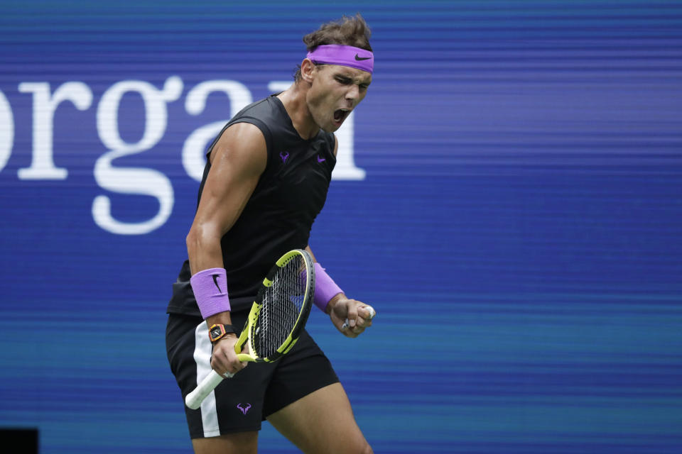 Rafael Nadal, of Spain, reacts after scoring a point against Daniil Medvedev, of Russia, during the men's singles final of the U.S. Open tennis championships Sunday, Sept. 8, 2019, in New York. (AP Photo/Adam Hunger)