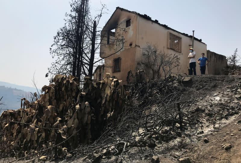 People stand in a burnt area following a wildfire in the village of Ait Sid Ali
