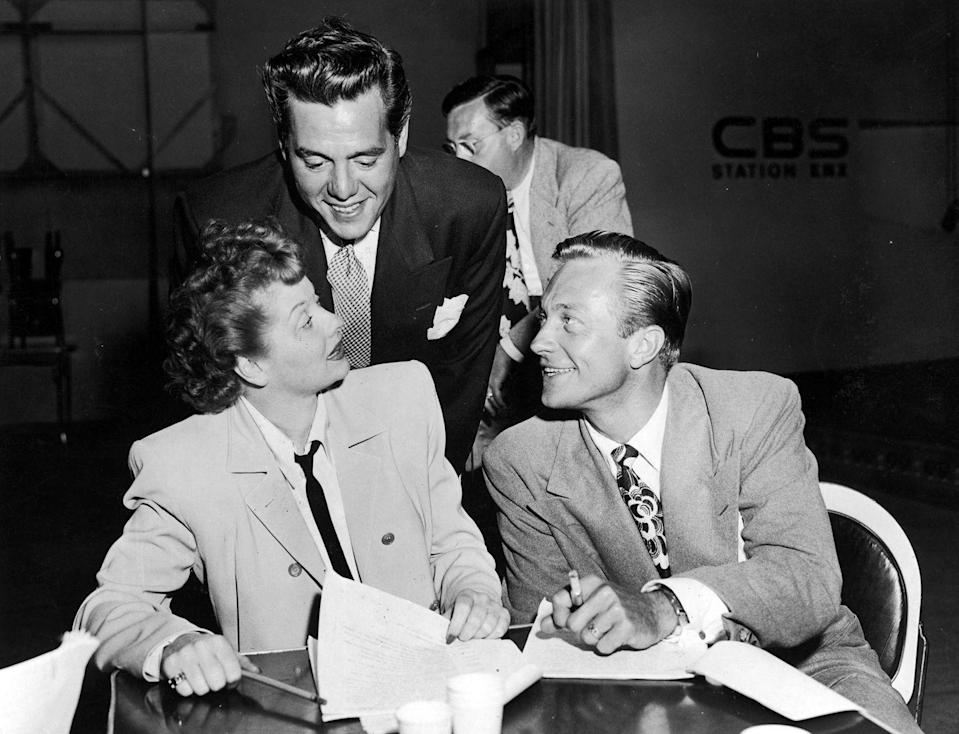 <p>Lucille's real husband, Desi, joins her and her on-screen spouse for a rehearsal on the set of their CBS radio show, <em>My Favorite Husband.</em></p>