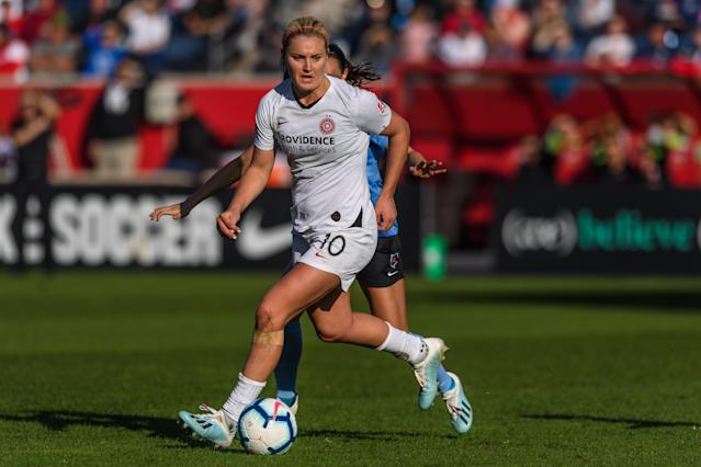 Portland Thorns midfielder Lindsey Horan expressed frustration that the NWSL hasn't been recognized as the first American team sports league to reopen after the COVID-19 pandemic shut down sports in March. (Photo by Daniel Bartel/ISI Photos/Getty Images).