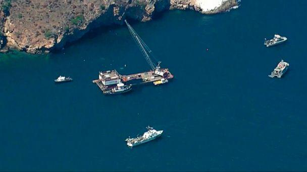 This photo from video provided by KABC-TV shows divers resuming their search Wednesday, Sept. 11, 2019 for the final missing victim who perished in a boat fire off the Southern California coast. The victim is one of 34 who died at sea last week near (The Associated Press)