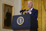 In this Aug. 26, 2021, photo, President Joe Biden answers questions from members of the media about the bombings at the Kabul airport that killed at least 12 U.S. service members, from the East Room of the White House in Washington. As the U.S. rushes to evacuate Americans and allies from Afghanistan, a growing number of Republicans are questioning why the U.S. should take in Afghan citizens who worked side by side with Americans. (AP Photo/Evan Vucci)