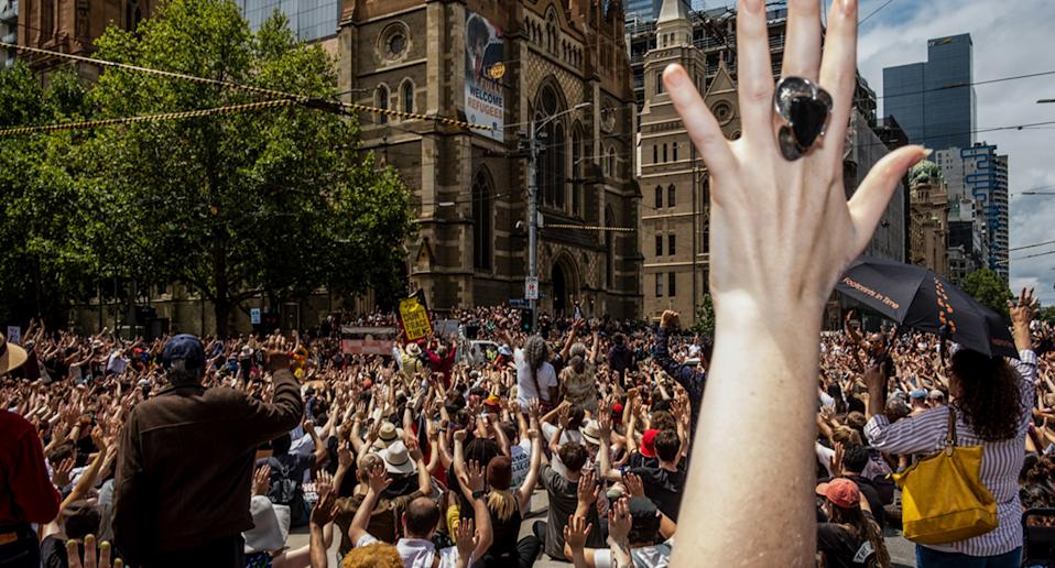 Thousands are expected to gather in Sydney and Melbourne. Australia Day protest in Melbourne 2020 pictured. Source: AAP