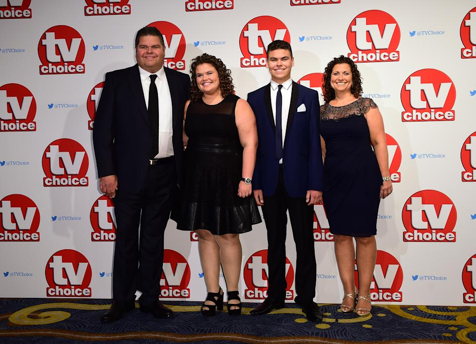 The Tapper Family from Gogglebox, Jonathan, Nikki and their kids Josh and Amy attending the 2015 TV Choice Awards at the Park Lane Hilton Hotel, London. PRESS ASSOCIATION Photo. Picture date: Monday September 7, 2015. See PA story SHOWBIZ TVChoice. Photo credit should read: Ian West/PA Wire
