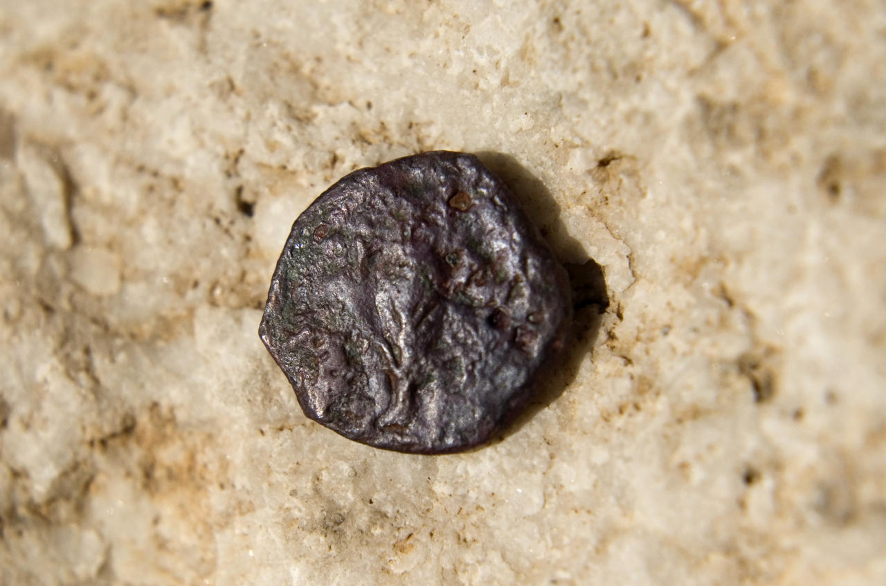 An ancient coin, one of 17 discovered in an underground part of the Western Wall, the holiest site where Jews can pray, is seen in a presentation of archeological excavations in Jerusalem's Old City, Wednesday, Nov. 23, 2011. Newly found coins underneath the Western Wall are identified as stamped by a Roman proconsul 20-years after hte death of Herod, a Jewish ruler who died in 4 B.C., and could change the accepted belief about the construction of one of the world's most sacred sites two millennia ago, Israeli archaeologists said Wednesday. (AP Photo/Sebastian Scheiner)
