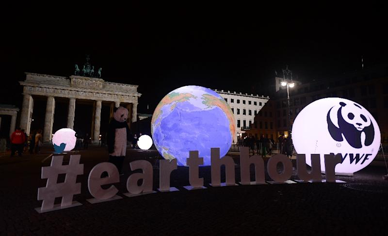 """A WWF activist dressed as a panda bear stands next to an illuminated globe in front of the darkened Brandenburger Gate in Berlin during the global climate change awareness campaign """"Earth Hour"""" in 2015 (AFP Photo/John MacDougall)"""