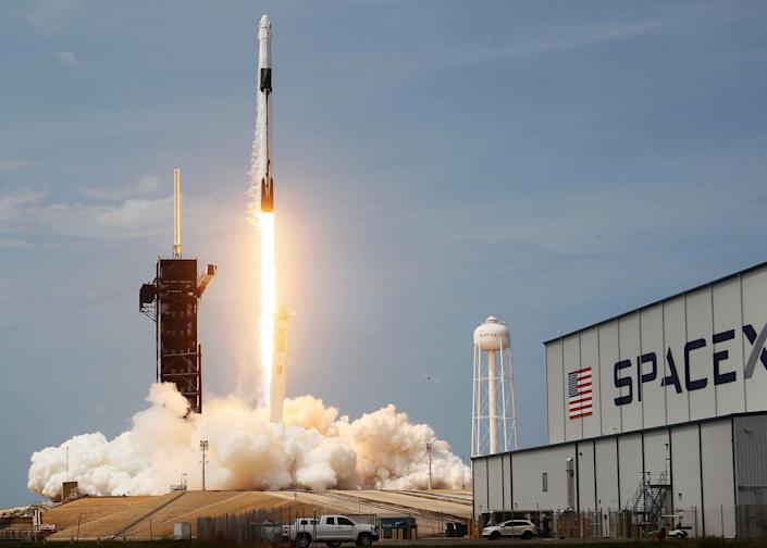 The SpaceX Falcon 9 rocket takes off at the Kennedy Space Center on May 30, 2020 in Cape Canaveral, Florida.