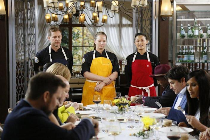 "Bryan Voltaggio, from left, Stephanie Cmar and Melissa King compete in the ""Top Chef: All-Stars L.A."" finale. <span class=""copyright"">(Ernesto Ruscio / Bravo)</span>"