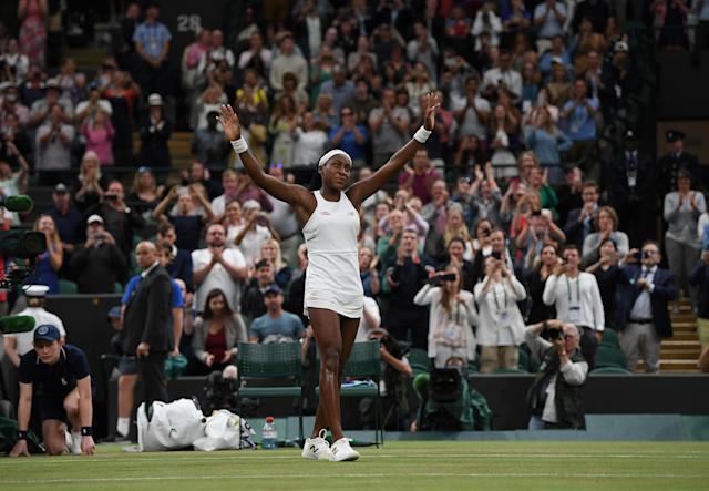 "Cori ""Coco"" Gauff is headed to Wimbledon's third round after beating Magdalena Rybarikova in the second round on Wednesday. (Photo by Shaun Botterill/Getty Images)"