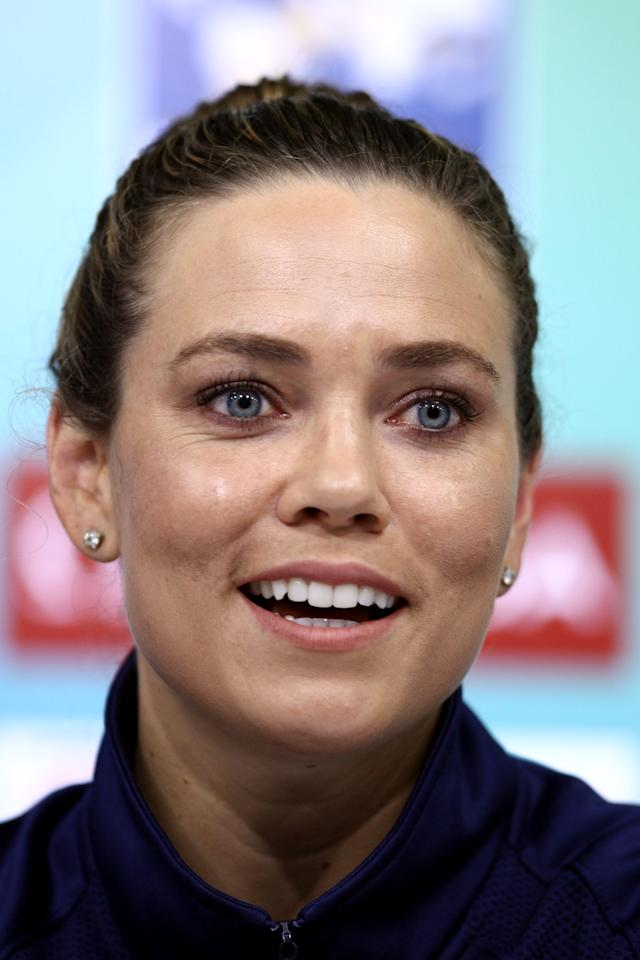 SHANGHAI, CHINA - JULY 23:  Natalie Coughlin of the United States participates in a press conference on Day Eight of the 14th FINA World Championships at the Main Press Center of the Oriental Sports Center on July 23, 2011 in Shanghai, China.  (Photo by Feng Li/Getty Images)