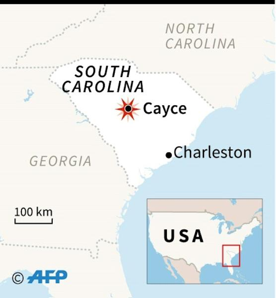 Map locating Cayce in South Carolina, where at least two people were killed and dozens injured after a passenger train collided with a freight train