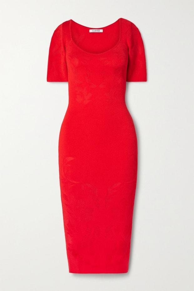 "<p>Cushnie Floral-Jacquard Midi Dress, $1,025, <a href=""https://rstyle.me/+UJIZfNSpbRm7wg0QT_TH6g"" rel=""nofollow noopener"" target=""_blank"" data-ylk=""slk:available here"" class=""link rapid-noclick-resp"">available here</a>.</p>"