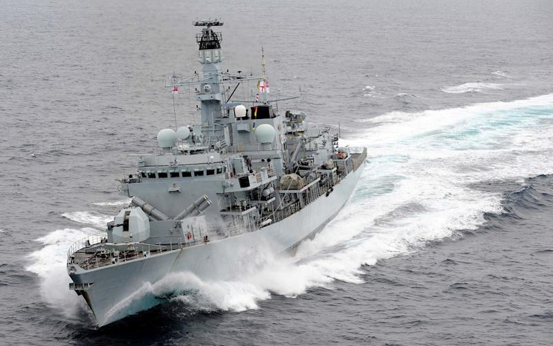 The type 23 frigate HMS Montrose reportedly aimed its guns on the Iranians and told them to move away - REUTERS