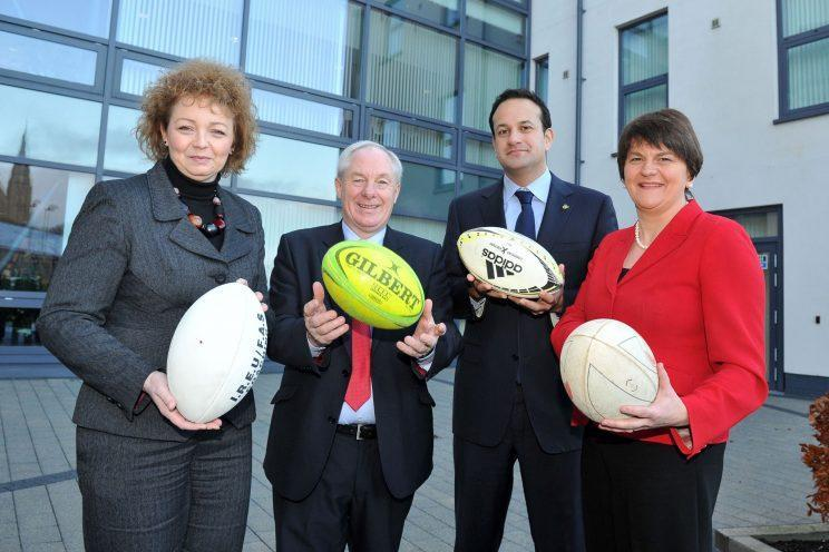Leo Varadkar and DUP leader Arlene Foster, right, have much to talk about (Michael Cooper/ Ireland 2023 Rugby World Cup Bid via Getty Images)