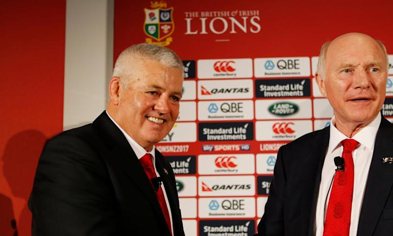 Warren Gatland's announcement as Lions coach in 2016, alongside John Spencer, who is due to attend the amended 'Cambridge University Big Cats' evening.