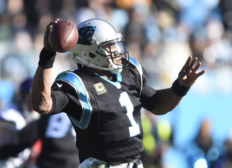 Carolina Panthers quarterback Cam Newton looks to throw against the Vikings. (AP)