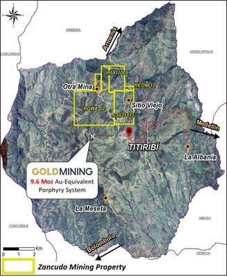 Mineralization disclosed by GoldMining Inc. on an adjacent project is not necessarily indicative of the mineralization hosted on the Zancudo Project. (CNW Group/ESV Resources Ltd.)