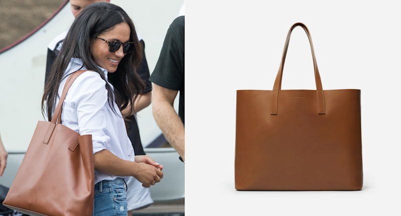 Meghan Markle seen wearing the Everlane Day Market Tote in cognac at the 2017 Invictus Games. Images courtesy of Samir Hussein/WireImage, Everlane.