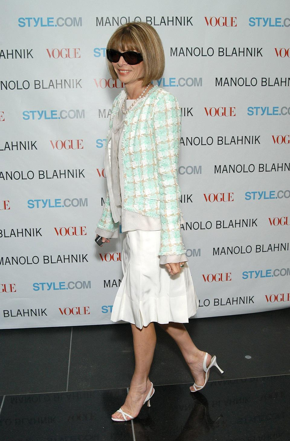THEN: The Vogue editor in chief has been wearing the same style of neutral (Manolo Blahnik) strappy slingback sandals since the '90s. The versatile shoes will simply never go out of style.