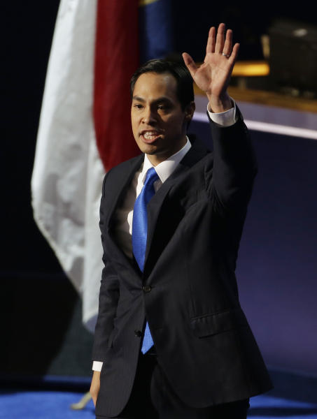San Antonio Mayor Julian Castro waves as he arrives to speak at the Democratic National Convention in Charlotte, N.C., on Tuesday, Sept. 4, 2012. (AP Photo/Lynne Sladky)