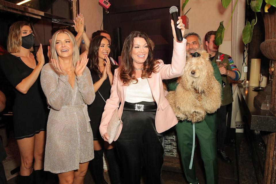 <p>Lisa Vanderpump celebrates her dog Schnooky's birthday at a See You Next Tuesday pride event in L.A. on June 29. </p>
