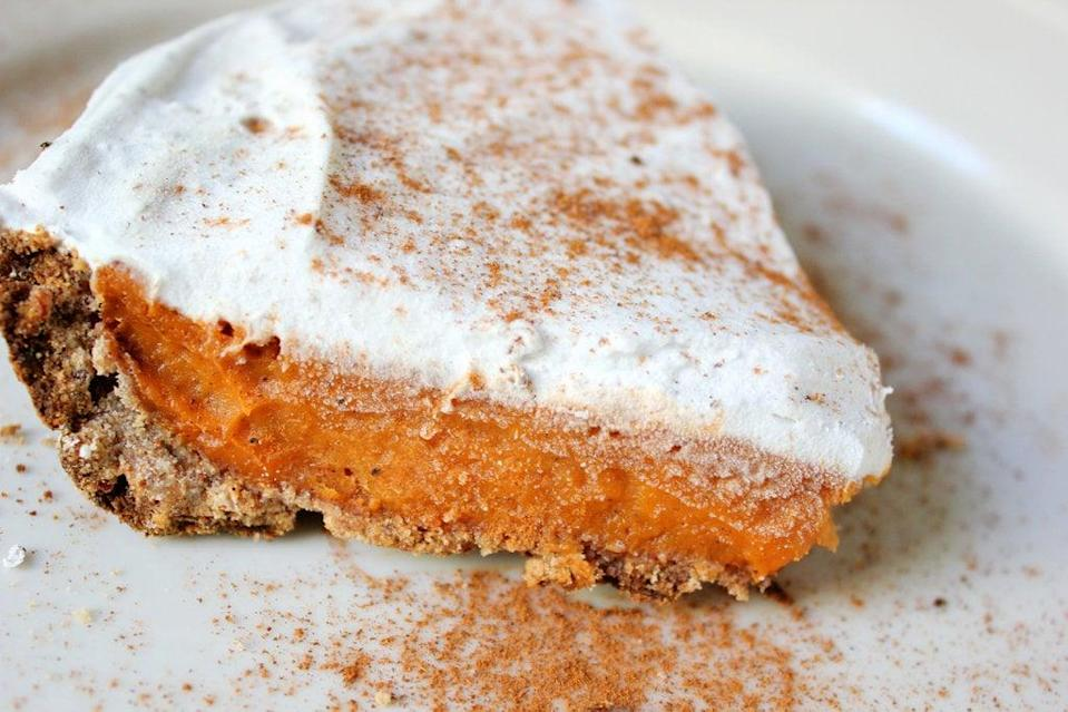 "<p>Sweet potato pie is one Southern dish that's very similar to pumpkin pie, but with a sweeter, slightly earthier taste that makes it a prime alternative if you've got pumpkin pie fatigue. And since sweet potatoes are chock-full of nutrients - especially vitamin A, which promotes immunity and eye health, and fiber - reaching for a slice of sweet potato pie is never a bad idea.</p> <p><strong>Get the recipe:</strong> <a href=""https://www.popsugar.com/fitness/Vegan-Sweet-Potato-Pie-Recipe-25841882"" class=""link rapid-noclick-resp"" rel=""nofollow noopener"" target=""_blank"" data-ylk=""slk:vegan sweet-potato pie with whipped coconut-cream frosting"">vegan sweet-potato pie with whipped coconut-cream frosting</a></p>"