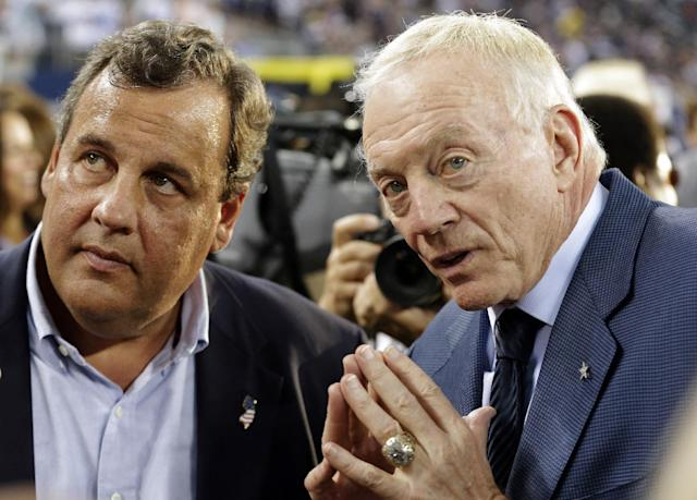 New Jersey Gov. Chris Christie, left, and Dallas Cowboys owner Jerry Jones talk before an NFL football game between the New York Giants and the Cowboys, Sunday, Sept. 8, 2013, in Arlington, Texas. (AP Photo/LM Otero)