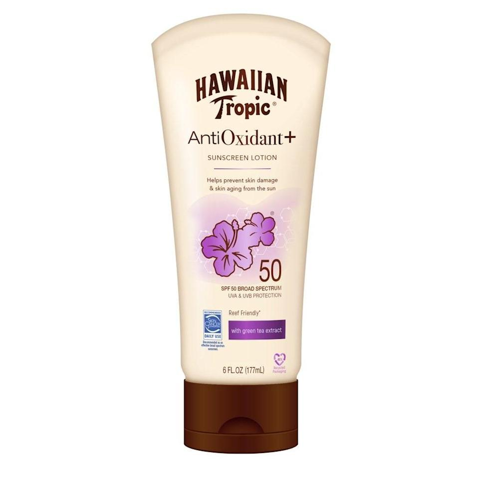 Looking for new everyday protection? Hawaiian Tropic's Antioxidant Sunscreen Lotion 50 is formulated with good-for-the-skin antioxidants like green tea extract to nourish as it shields from damaging UV rays. The silky, lightweight lotion goes on smoothly and smells <em>just</em> like you're on the shore of a tropical island (and not confined to the boardroom). Did we mention it's under 10 bucks?
