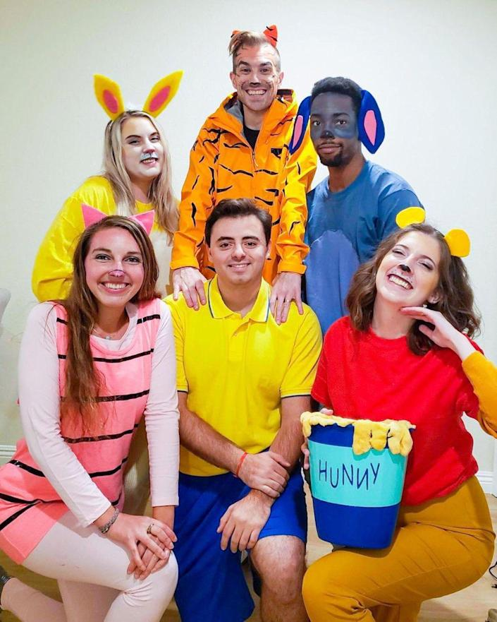 """<p>You don't have to live in the Hundred Acre Wood to appreciate the friendly magic of this group costume, which can easily be recreated with a few basics and fabric pens. </p><p><strong>See more at <a href=""""https://www.instagram.com/p/CHDwj6qjga1/"""" rel=""""nofollow noopener"""" target=""""_blank"""" data-ylk=""""slk:@monicamazel"""" class=""""link rapid-noclick-resp"""">@monicamazel</a>. </strong></p><p><strong><a class=""""link rapid-noclick-resp"""" href=""""https://www.amazon.com/TSLA-Hyper-Dri-Active-Sports-Performance/dp/B0824N3QKW/ref=sr_1_3_sspa?tag=syn-yahoo-20&ascsubtag=%5Bartid%7C10050.g.32906192%5Bsrc%7Cyahoo-us"""" rel=""""nofollow noopener"""" target=""""_blank"""" data-ylk=""""slk:Shop yellow polos"""">Shop yellow polos</a><br></strong></p>"""