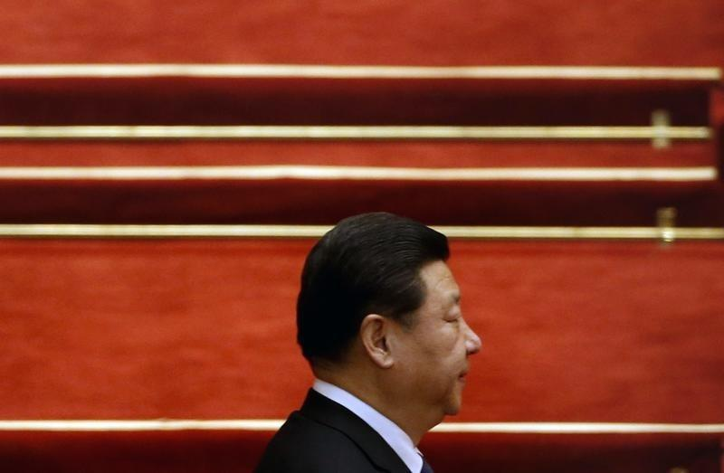 China's President Xi Jinping arrives for the closing ceremony of Chinese National People's Congress at the Great Hall of the People, in Beijing