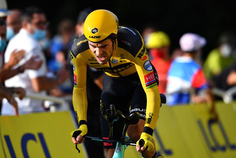 LA PLANCHE FRANCE SEPTEMBER 19 Tom Dumoulin of The Netherlands and Team Jumbo Visma during the 107th Tour de France 2020 Stage 20 a 362km Individual Time Trial stage from Lure to La Planche Des Belles Filles 1035m ITT TDF2020 LeTour on September 19 2020 in La Planche France Photo by Stuart FranklinGetty Images