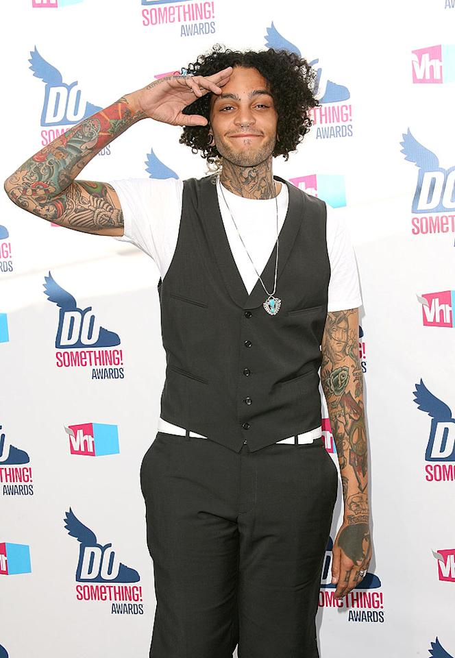 """Travis (aka Travie) McCoy and his army of tattoos gave a salute on the red carpet. Later, he took the stage to perform his hit """"Billionaire"""" with Bruno Mars. Jesse Grant/<a href=""""http://www.wireimage.com"""" target=""""new"""">WireImage.com</a> - July 19, 2010"""