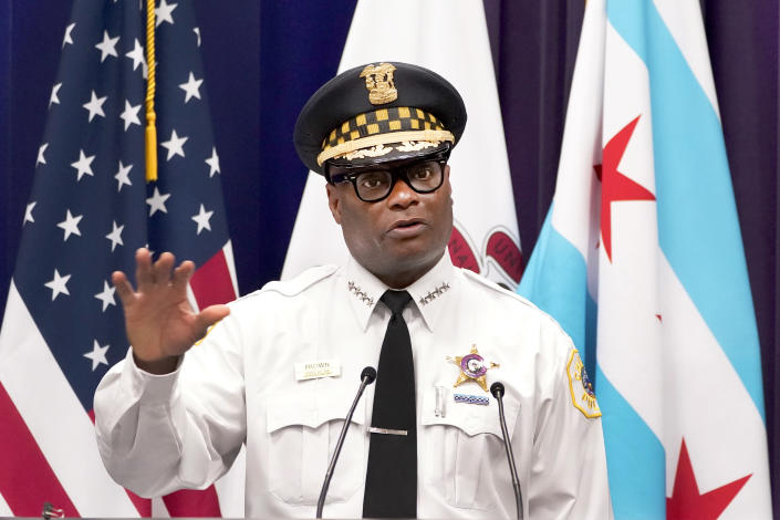 Chicago Police Superintendent David O. Brown responds to a question during a news conference Thursday, July 22, 2021, in Chicago. Brown spoke about multiple shootings Wednesday, including the drive-by shooting wounding eight people who had been riding on a party bus, just one of several fatal shootings in the city. (AP Photo/Charles Rex Arbogast)