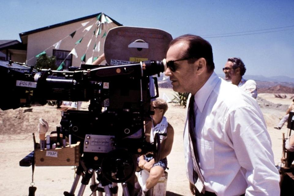 Jack Nicholson behind the camera on The Two Jakes. (Paramount)