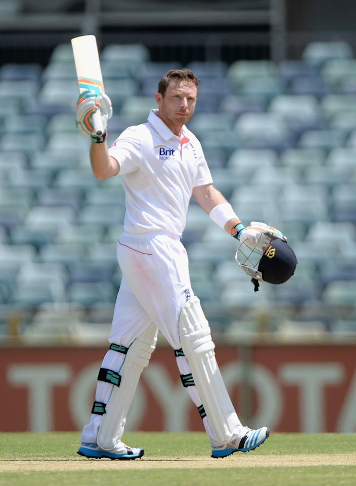 PERTH, AUSTRALIA - NOVEMBER 02:  Ian Bell of England celebrates after reaching his century during day three of the Tour match between the Western Australia Chairman's XI and England at the WACA on November 2, 2013 in Perth, Australia.  (Photo by Gareth Copley/Getty Images)