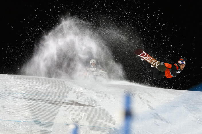 In this photo provided by ESPN, Zeb Powell competes in the final of the Knuckle Huck snowboarding competition at the 2020 Winter X Games in Aspen, Colo. There's only one rule in the event that has captured the imaginations of all the high-flying daredevils at the Winter X Games: Do something cool. This weekend, cool will happen in a contest called Knuckle Huck. (Trevor Brown/ESPN via AP)