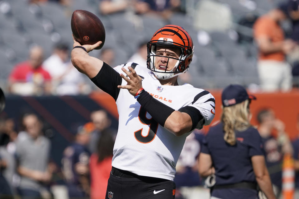 Cincinnati Bengals quarterback Joe Burrow warms up before an NFL football game against the Chicago Bears Sunday, Sept. 19, 2021, in Chicago. (AP Photo/David Banks)