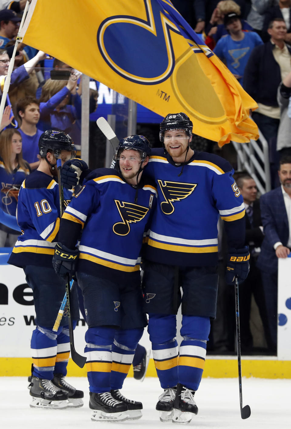St. Louis Blues' Colton Parayko, right, and Vladimir Tarasenko celebrate following Game 7 of the team's NHL second-round hockey playoff series against the Dallas Stars on Tuesday, May 7, 2019, in St. Louis. The Blues won 2-1 in double overtime to take the series. (AP Photo/Jeff Roberson)