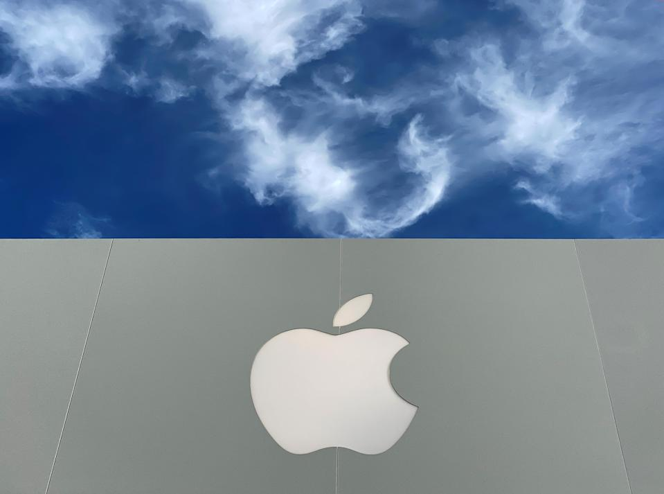 The Apple logo is shown atop an Apple store at a shopping mall in La Jolla, California