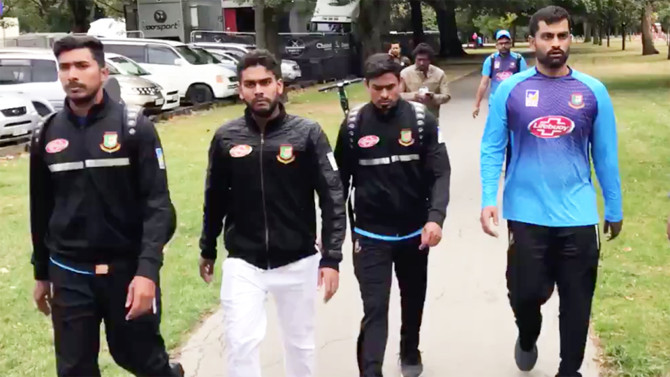 Members of the Bangladesh cricket team after the attack. Image: Mohammad Isam/Twitter