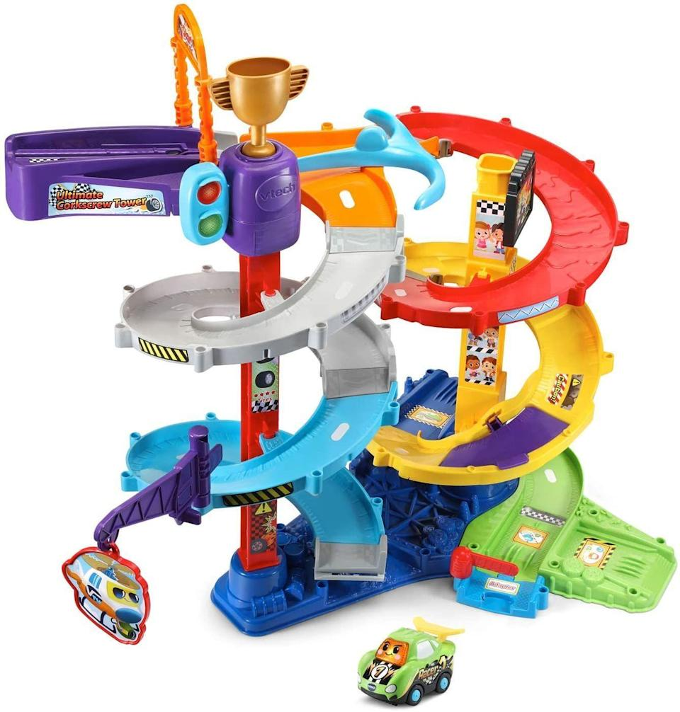 """<p><strong>$29.82</strong></p><p><a href=""""https://www.amazon.com/VTech-Smart-Wheels-Ultimate-Corkscrew/dp/B087J3DG1N/ref=sr_1_4?dchild=1&keywords=v-tech+car+tower+garage&qid=1629298071&sr=8-4&tag=syn-yahoo-20&ascsubtag=%5Bartid%7C2089.g.37405641%5Bsrc%7Cyahoo-us"""" rel=""""nofollow noopener"""" target=""""_blank"""" data-ylk=""""slk:Shop Now"""" class=""""link rapid-noclick-resp"""">Shop Now</a></p><p>There's something genuinely hypnotic about watching cars go down a ramp, especially a 3-foot spiral ramp when you're barely 3 feet tall yourself! This musical tower comes with """"Rocky the Race Car"""" and is compatible with other vehicles and playsets in the Go! Go! Smart wheels line (sold separately). </p>"""