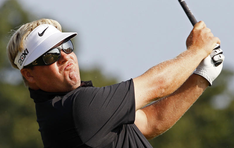 Carl Pettersson, of Sweden, hits from the 16th tee during the first round of the Wyndham Championship golf tournament in Greensboro, N.C., Thursday, Aug. 16, 2012. (AP Photo/Gerry Broome)
