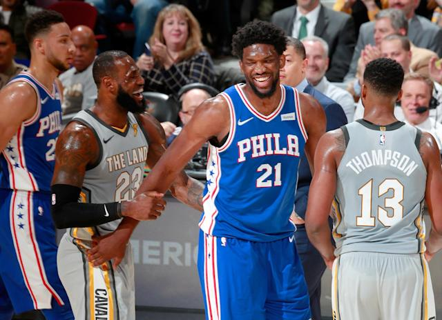 LeBron James and Joel Embiid are strictly cordial professional acquaintances, Clevelanders. Nothing more! (Getty)