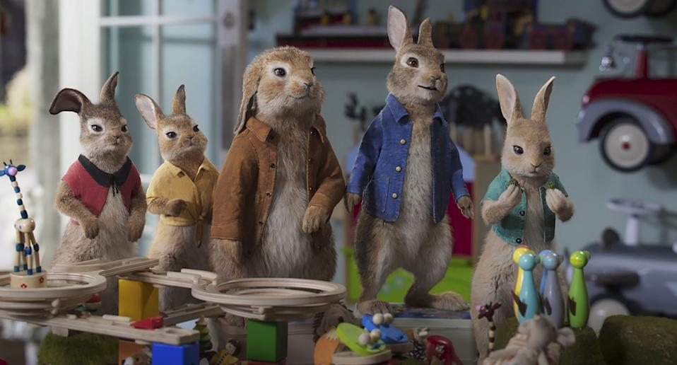 Mopsy (Elizabeth Debicki), Flopsy (Margot Robbie), Benjamin (Colin Moody), Peter Rabbit (James Corden) and Cottontail (Amy Horn) in Columbia Pictures' PETER RABBIT™ 2: THE RUNAWAY.