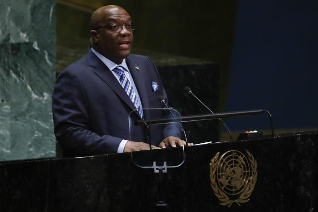 Timothy Harris, Prime Minister of St. Kitts and Nevis, addresses the 74th session of the United Nations General Assembly, Friday, Sept. 27, 2019, at the United Nations headquarters. (AP Photo/Frank Franklin II)