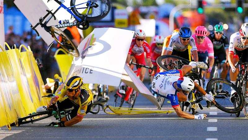 Dylan Groenewegen, pictured here crashing after the horror incident.