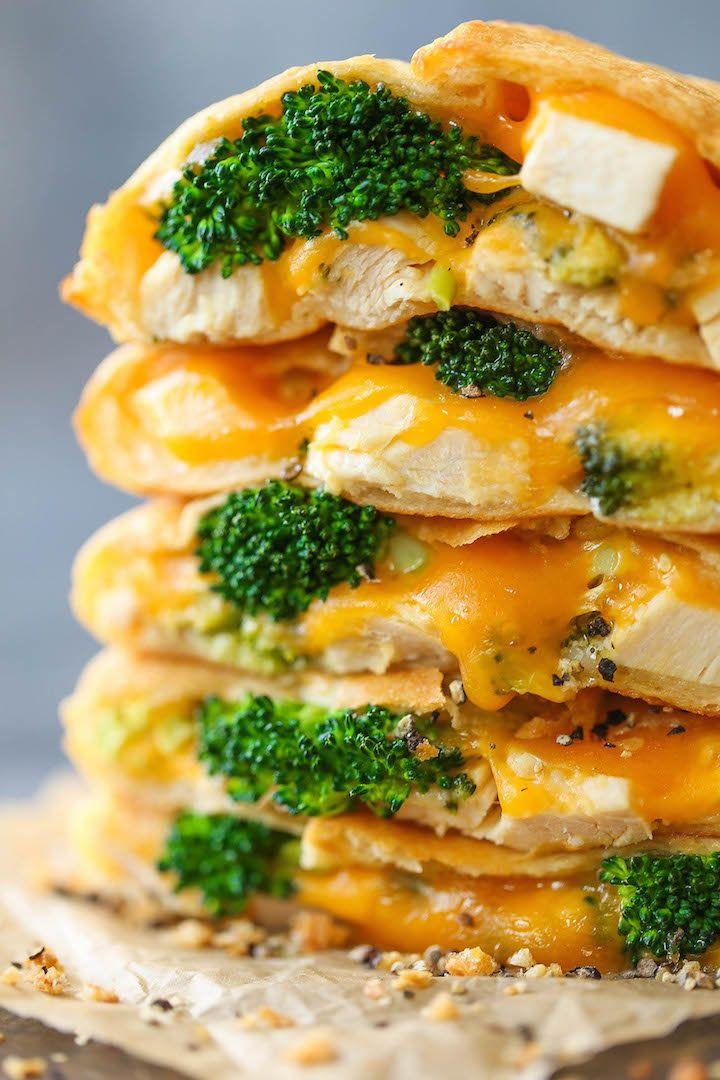 """<strong>Get the <a href=""""http://damndelicious.net/2016/12/30/cheesy-chicken-broccoli-pockets/"""" target=""""_blank"""">Cheesy Chicken Broccoli Pocket recipe</a>fromDamn Delicious</strong>"""