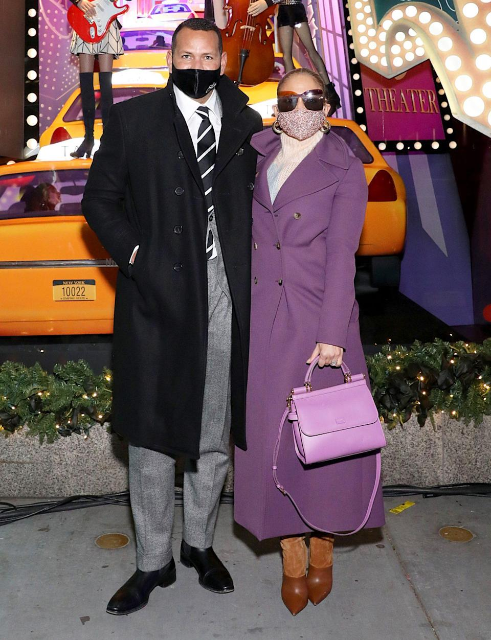 <p>Alex Rodriguez and Jennifer Lopez get dressed up to attend Saks Fifth Holiday Window Unveiling 2020 on Monday in N.Y.C.</p>