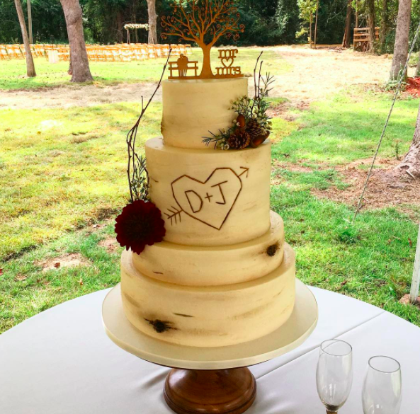"<p>One Belle Bakery did the wedding cake and shared a snap of it on social media. ""It was a perfect day for an outdoor fall wedding!"" the caption said. ""Congrats to Jenelle and David who tied the knot in a sweet backyard ceremony this afternoon."" (Photo: <a href=""https://www.instagram.com/p/BZZuT-YB_EQ/?hl=en&taken-by=onebellebakery"" rel=""nofollow noopener"" target=""_blank"" data-ylk=""slk:One Belle Bakery via Instagram"" class=""link rapid-noclick-resp"">One Belle Bakery via Instagram</a>) </p>"